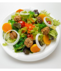 SALMON MEAT BALL SALAD &SHOYU-PONZU DRESSING